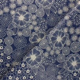 Oilcloth fabric - blue Dalia x 10cm