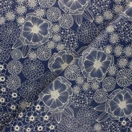 Tissu toile cirée Dalia - bleu x 10cm