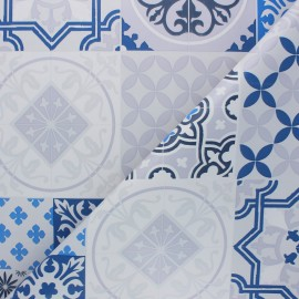 Tissu toile cirée Miles - bleu x 10cm