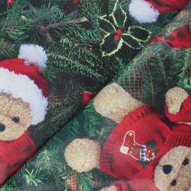 Tissu toile cirée Christmas Teddy Bear - vert x 10cm