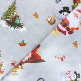 Oilcloth fabric - silver Christmas Magic x 10cm