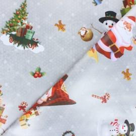 Tissu toile cirée Christmas Magic - argent x 10cm