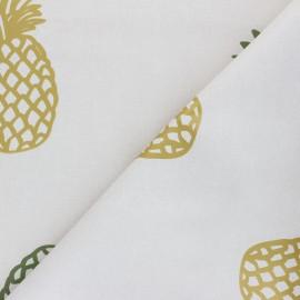 Tissu toile cirée Pineapple - beige/doré x 10cm