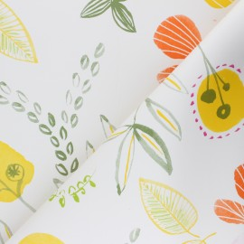 Oilcloth fabric with table protector reverse - white Jardin Printanier x 10cm