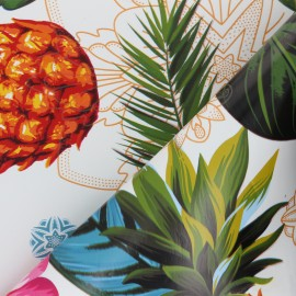 Tissu toile cirée Bulgomme Tropicalo - blanc x 10cm