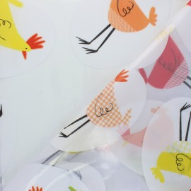 15 gauge clear vinyl fabric - multicolor Chicken x 50cm