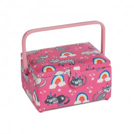Medium Size Sewing Box - Rainbow cat