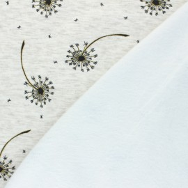 Tissu sweat envers minkee Glitter dandelions - Écru chiné x 10cm