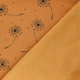 Sweatshirt fabric with minkee - Mottled mustard yellow Glitter dandelions x 10cm