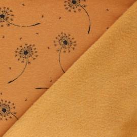 Tissu sweat envers minkee Glitter dandelions - Jaune moutarde chiné x 10cm