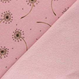 Tissu sweat envers minkee Glitter dandelions - Rose chiné x 10cm