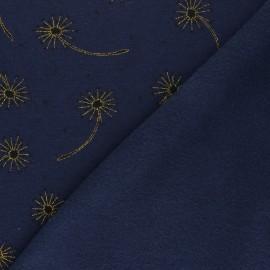 Tissu sweat envers minkee Glitter dandelions - Bleu marine chiné x 10cm