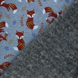 Tissu sweat envers minkee Glitter fox - Bleu chiné x 10cm