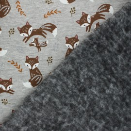 Sweatshirt fabric with minkee - Mottled grey Glitter fox x 10cm