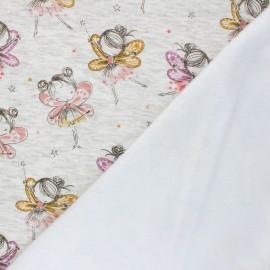 Tissu sweat envers minkee Fairy ballerina - Écru chiné x 10cm
