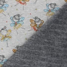 Tissu sweat envers minkee Fairy ballerina - Gris chiné x 10cm