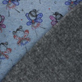 Tissu sweat envers minkee Fairy ballerina - Bleu chiné x 10cm