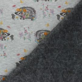 Tissu sweat envers minkee Flowery hérisson - Gris chiné x 10cm