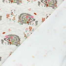 Tissu sweat envers minkee Flowery hérisson - Écru chiné x 10cm