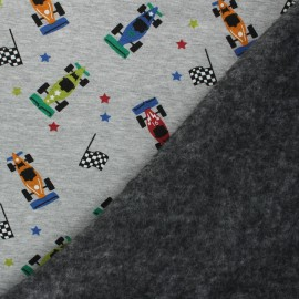 Tissu sweat envers minkee Formule 1 - Gris chiné x 10cm