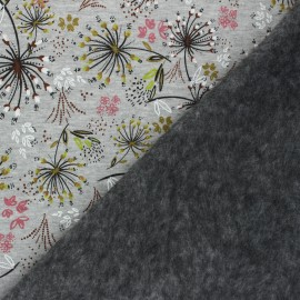 Tissu sweat envers minkee Champ de pissenlits - Gris chiné x 10cm
