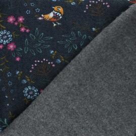 Stitched sweatshirt fabric - navy blue Chloris x 10cm