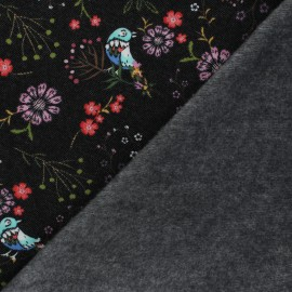 Stitched sweatshirt fabric - black Chloris x 10cm
