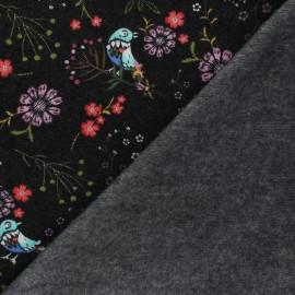 Tissu sweat piqué Chloris - Noir x 10cm
