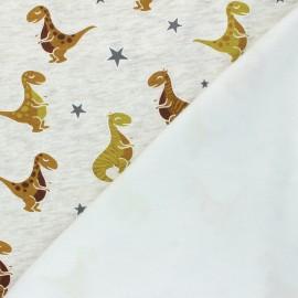 Tissu sweat envers minkee Jurassic - Écru chiné x 10cm