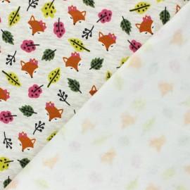 Tissu sweat envers minkee Renard roux - Écru chiné x 10cm