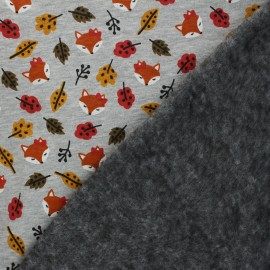 Tissu sweat envers minkee Renard roux - Gris chiné x 10cm