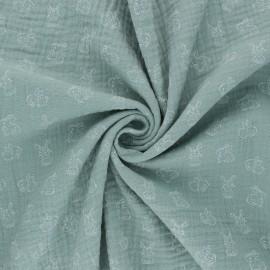 Poppy Double gauze fabric - Eucalyptus My Little Friends x 10cm