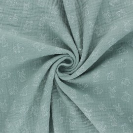 Tissu double gaze de coton Poppy My Little Friends - Eucalyptus x 10cm