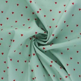 Tissu popeline de coton Poppy You're a Sweetheart B - vert x 10cm