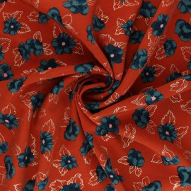 Tissu polyester satin mat Pearl Peach Floweresque by Penelope® - Rouille x 10cm