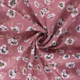 Polyester mat satin fabric Pearl Peach by Penelope® - pink Floweresque x 10cm