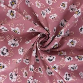Tissu polyester satin mat Pearl Peach Floweresque by Penelope® - Rose x 10cm