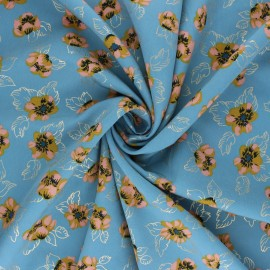 Polyester mat satin fabric Pearl Peach by Penelope® - blue Floweresque x 10cm