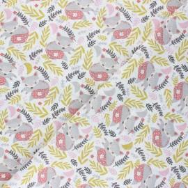 Tissu coton cretonne Mia la renarde - gris x 10cm