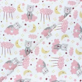 Tissu coton cretonne Hippolyte l'ourson - rose x 10cm