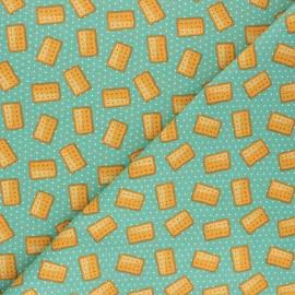 Tissu coton cretonne Petit Beurre - vert x 10cm