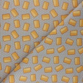 Cretonne cotton fabric - taupe Petit Beurre x 10cm