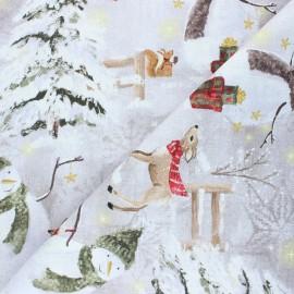 Tissu toile de coton Snowman - gris clair x 32 cm