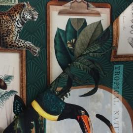 Tissu toile de coton satiné Tropical nature - vert  x 56 cm