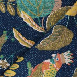 Tissu toile de coton satiné Joséphine - bleu marine  x 50 cm