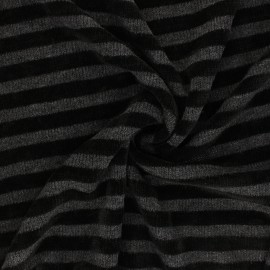 Tissu maille polyviscose velours rayé - noir x 10cm