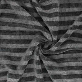 Striped knitted polyviscose velvet fabric - grey x 10cm
