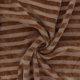 Tissu maille polyviscose velours rayé - noisette x 10cm