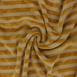 Tissu maille polyviscose velours rayé - jaune x 10cm
