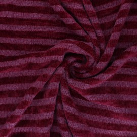 Striped knitted polyviscose velvet fabric - raspberry pink x 10cm